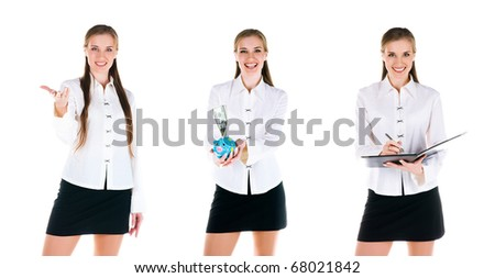 Set of a  young business women photos - stock photo