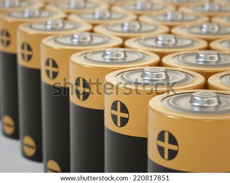 Set of AA-sized batteries - stock photo