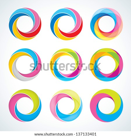 Set of abstact Infinite loop logo template. Corporate icons - stock photo