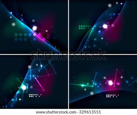 Set of abstract backgrounds with copyspace. Glowing color neon light in dark space. Banner advertising layouts - colorful templates and wallpapers