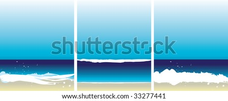 Set of 3 abstract beach illustrations - stock photo