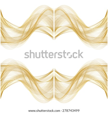 set of abstract beige line golden wave cream band isolated on white background. raster illustration - stock photo