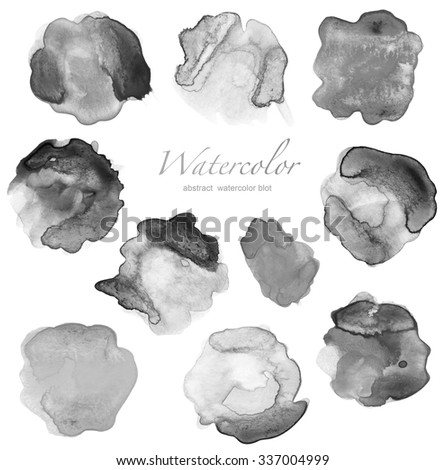 set of abstract black watercolor blot  - stock photo
