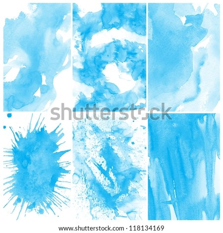 Set of Abstract blue water color art background hand paint