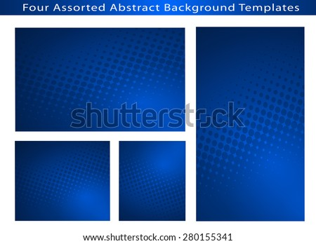 Set of 4 Abstract Business Blue  Background Templates with dot swirls and plenty of text space.