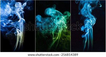 set  of Abstract  color smoke on   dark background. - stock photo