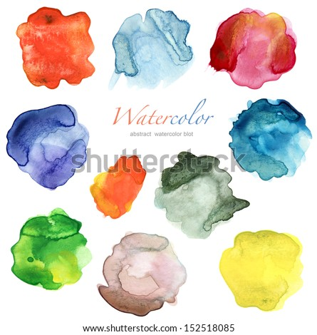set of abstract color watercolor blot  - stock photo
