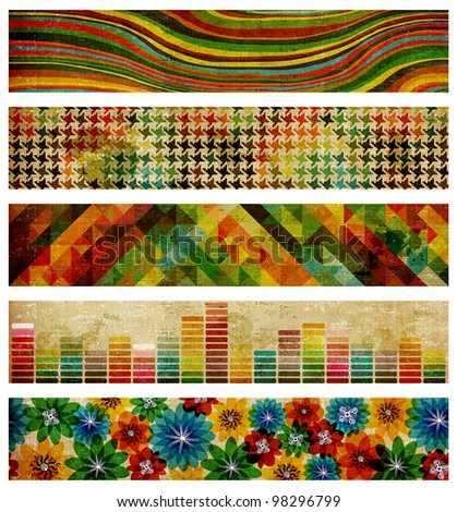 Set of abstract compositions of colors on retro background. - stock photo