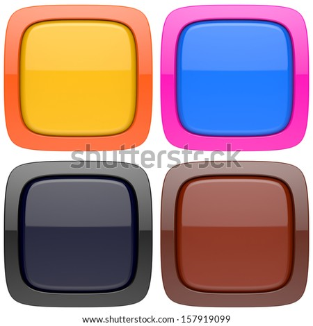 Set of abstract empty 3d buttons
