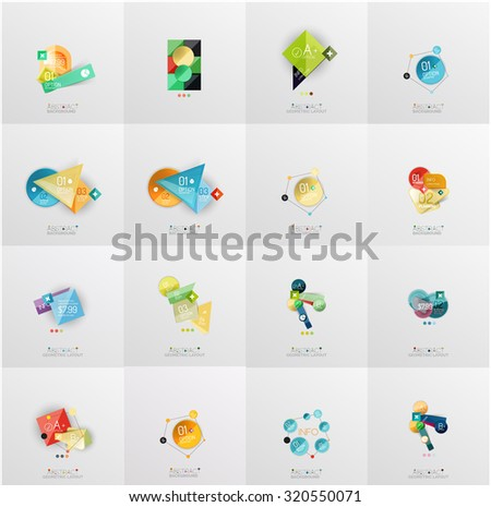 Set of abstract geometric infographic banner templates. Business presentations, backgrounds, option infographics or advertising layouts - stock photo