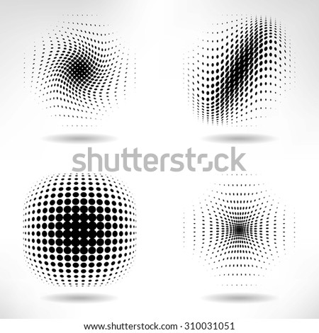 Set of Abstract Halftone Design Elements, raster version - stock photo