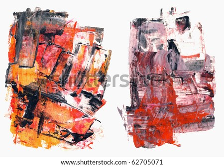 Set of abstract high resolution distressed watercolors hand painted by me. Objects are isolated on white and usable as grungy backgrounds for you projects. - stock photo