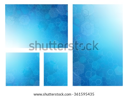 Set of 4 Abstract high resolution illustration of blue faded hexagonal/geometric layered design backgrounds perfect for Medical, Healthcare and Science and many other Businesses. - stock photo