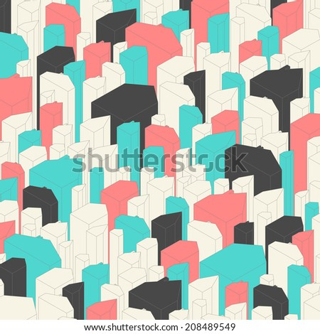 Set of abstract houses in hipster colors. Raster version - stock photo
