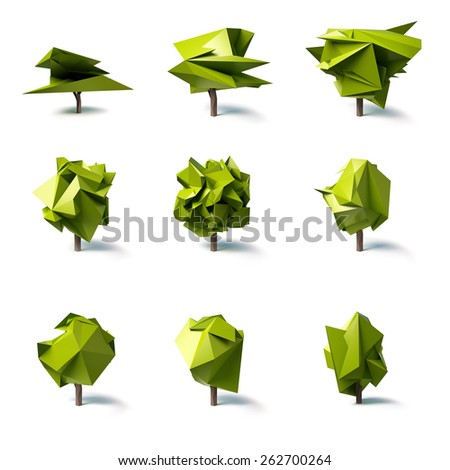 Set Of Abstract Low Poly Trees
