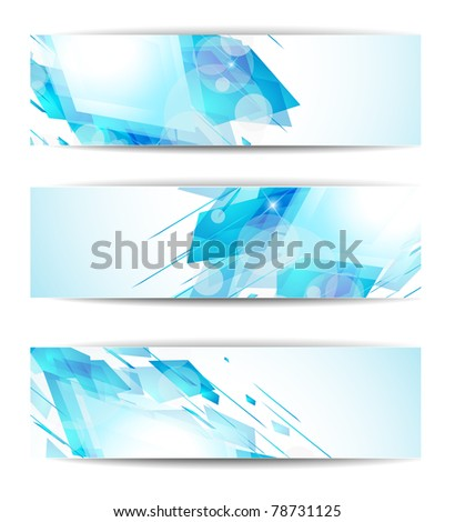 Set of abstract modern header banner for business flyer or website - stock photo