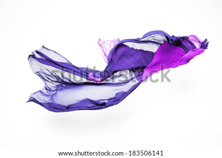 set of abstract pieces of purple fabric flying, high-speed studio shot - stock photo