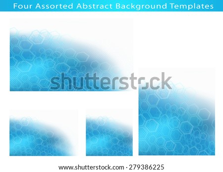 Set of 4 Abstract Science and Medical Concept of Molecular Structure And Communication Background Illustration templates with plenty of copy space. - stock photo