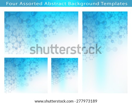 Set of 4 Abstract Science and Medical Image of Molecular Structure And Communication Background template Illustrations with plenty of copy space. - stock photo