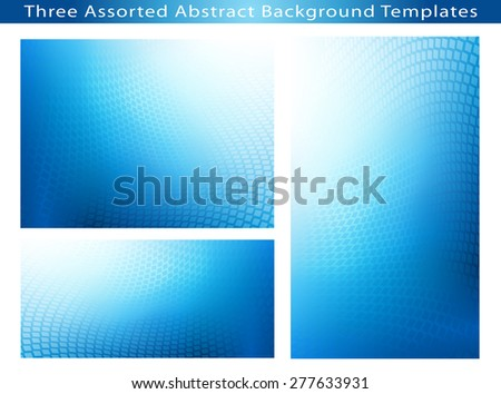 Set Of 3 Abstract soft blue dot swirl medical or business background template illustrations with plenty of copy space.  - stock photo