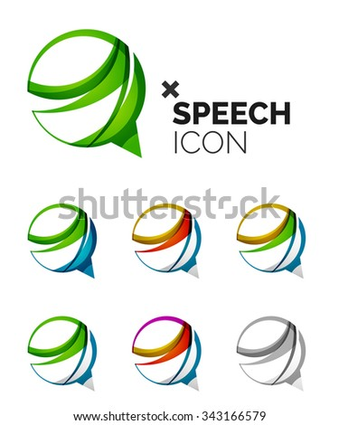 Set of abstract speech bubble and cloud icons, business logotype concepts, clean modern geometric design. Created with transparent abstract wave lines - stock photo