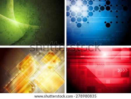 Set of abstract technology geometric backgrounds. Raster art design - stock photo