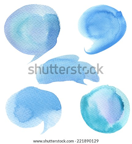 Set of abstract watercolor painted background. Paper texture. - stock photo