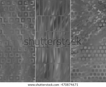 Set of abstractions picture. Three background grey. illustration beautiful.