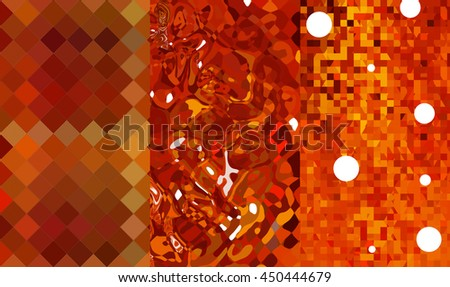 Set of abstractions picture. Three background orange.