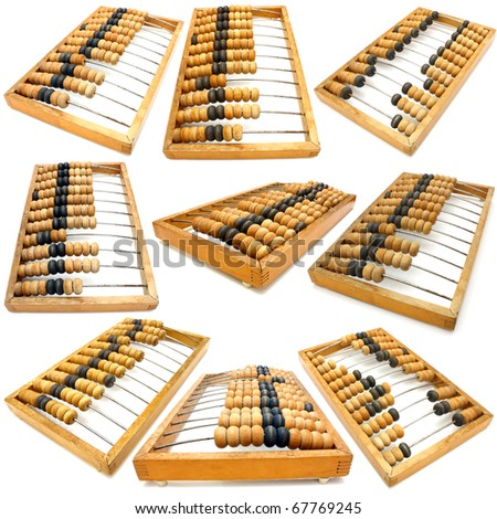 Set of accounting abacus for financial calculations lies on a white background - stock photo
