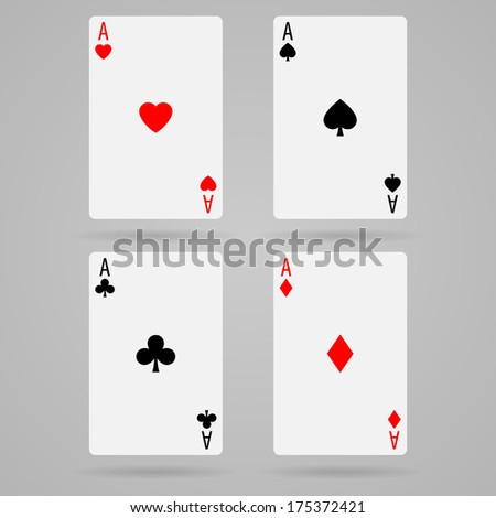 Set of ace playing cards