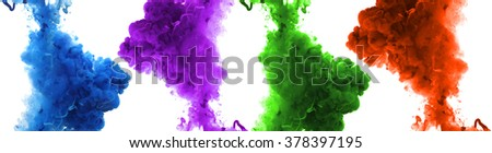 Set of acrylic colors and ink in water. Abstract background. - stock photo