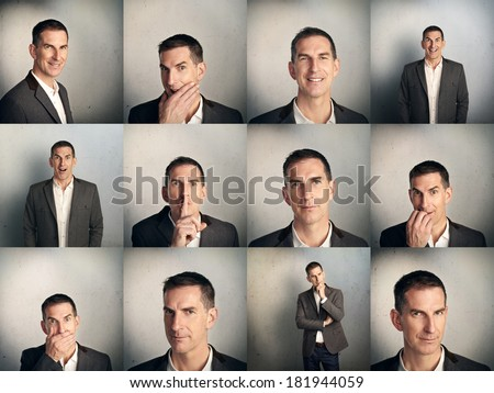 Set of adult man's portraits with different emotions