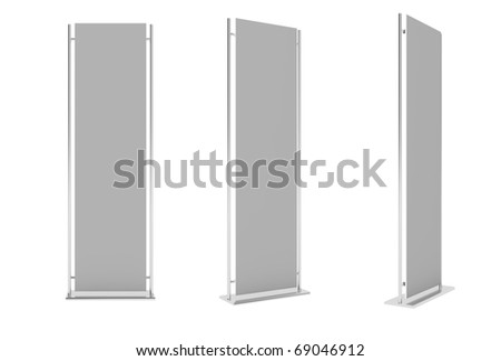 Set of advertising construction with blank surface isolation on white background