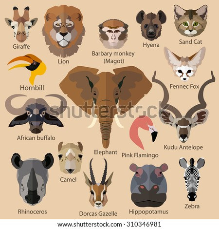 Set of african animals faces isolated icons. Flat style design. - stock photo