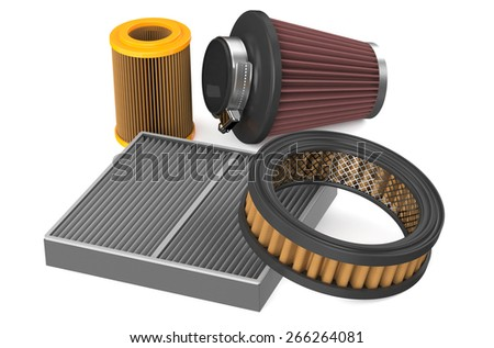 set of air filter for car isolated on white background - stock photo