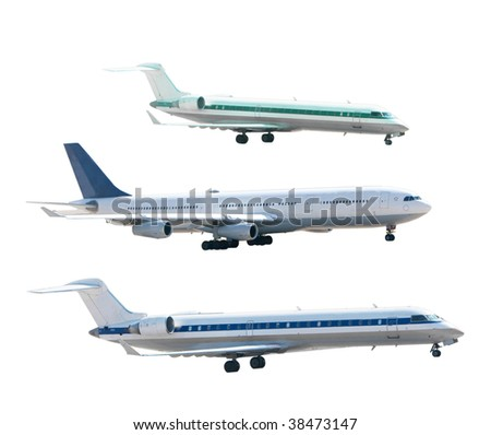 Set of airplanes isolated on white background - stock photo