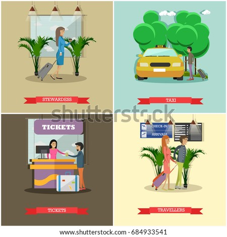 Set of airport concept posters, banners. Stewardess, Taxi, Tickets and Travellers design elements in flat style.