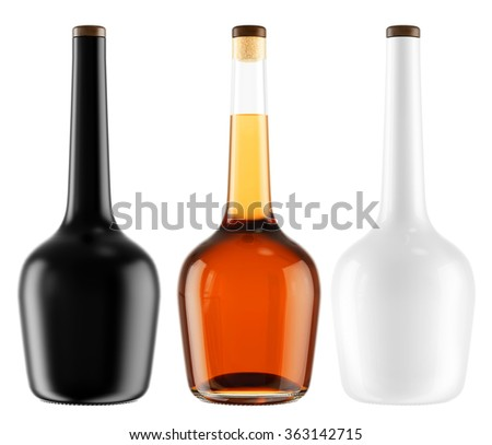 Set of alcohol bottles with a wooden stopper isolated on white background. Tincture, balsam, whiskey, cognac, brandy, wine. 3D Mock up for you design.