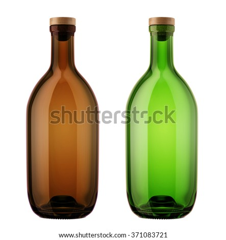 Set of alcohol glass bottles with a wooden stopper isolated on white background. Tincture, whiskey, cognac, brandy, wine, cosmetics, medicine, syrup, oil, beer, cider, juice. 3D Mock up for you design - stock photo