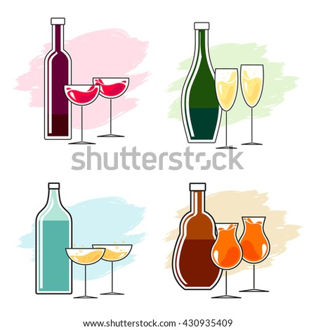 Set of alcoholic beverages - one bottle and two glasses. Simple line design.