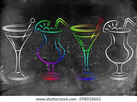 Set of alcoholic cocktails illustration - stock photo