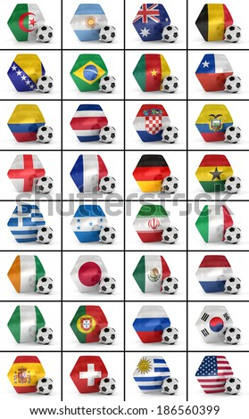 Set of all national flags participating in the soccer world championship - stock photo