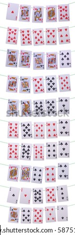 set of all possible poker hands on green wire (isolated on white background) - stock photo