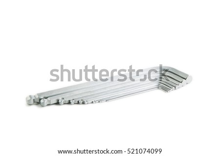 set of allen keys on a white background