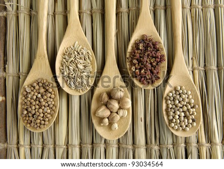 Set of Allspice, peppercorns and peppercorns, nutmeg seeds on wooden spoon - stock photo