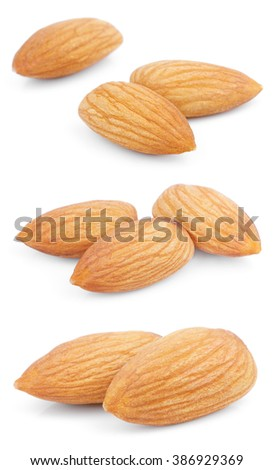 Set of almond nuts isolated on white background