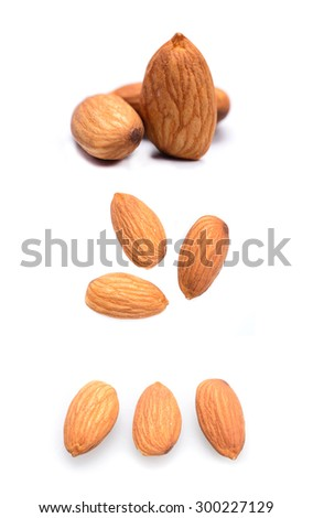 set of almonds isolated on the white background
