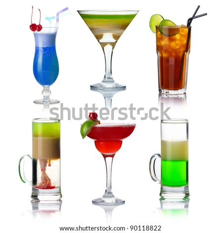 Set of alocohol coctails with fruits isolated on white background - stock photo