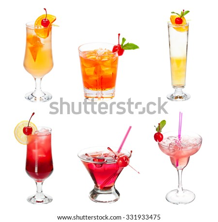Set of alocohol coctails with maraschino cherries  isolated on white background